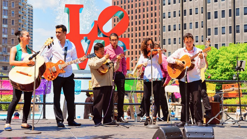 Singers at Musical festival in the Love Park in Philadelphia, PA