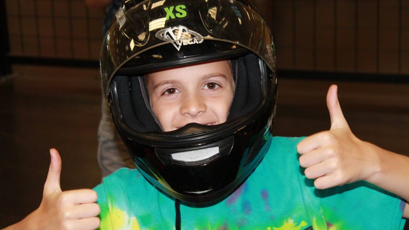 Kid having fun at go kart racing camp in Bucks County
